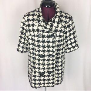 Worthington Black & White Houndstooth Pea Coat